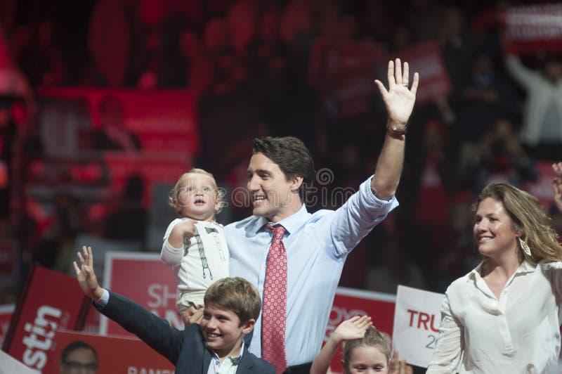 Reunión de la elección de Justin Trudeau fotos de archivo libres de regalías