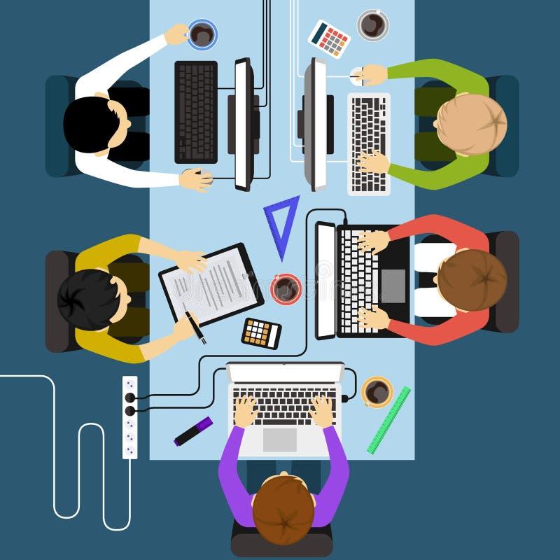 Reunión de la gestión de negocio de los oficinistas ilustración del vector