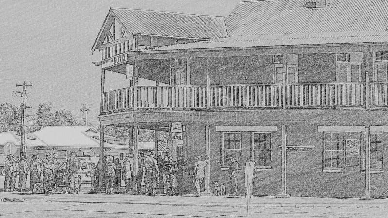 Reunión de la marcha de Anzac encima del Pub de la esquina imagenes de archivo