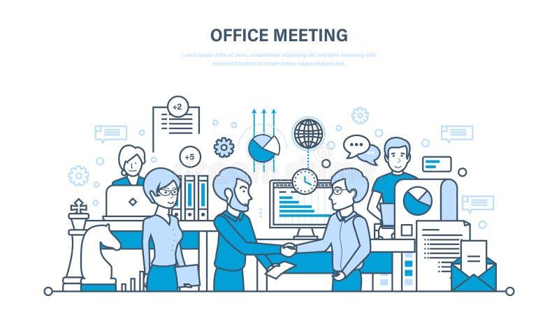 Reunión de la oficina, espacio del flujo de trabajo, trabajo en equipo, sociedad, intercambio de información, comunicaciones stock de ilustración