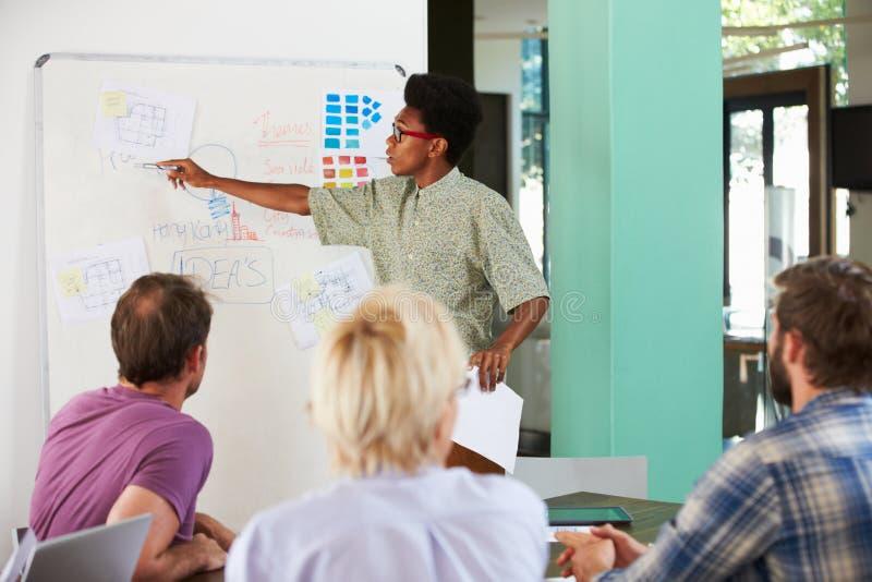 Reunión de Leading Creative Brainstorming del encargado en oficina imagen de archivo libre de regalías