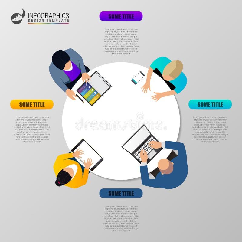 Reunión de negocios de la opinión de sobremesa de la oficina concepto infographic ilustración del vector