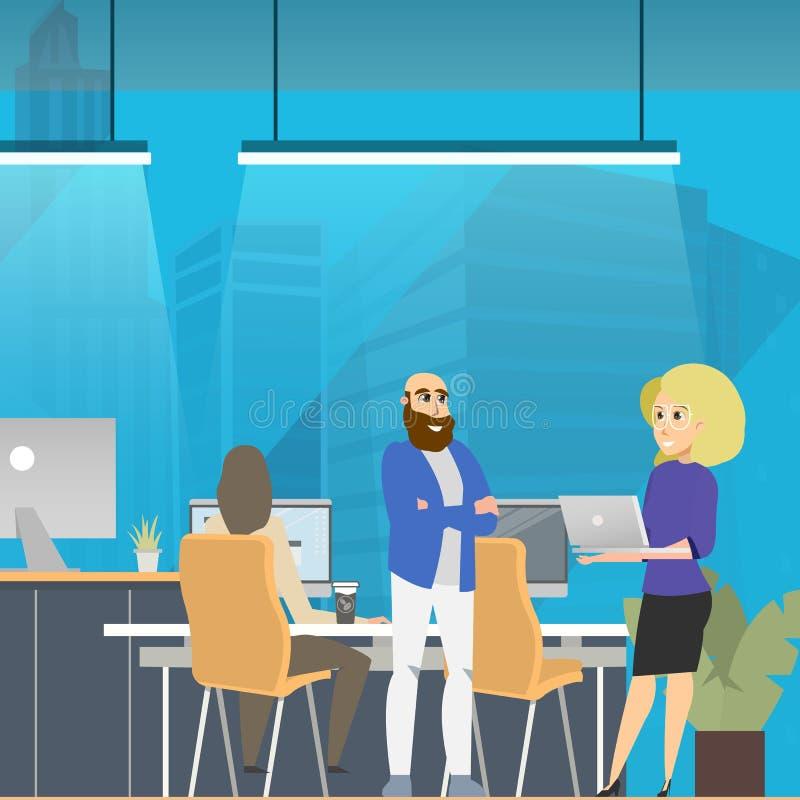 Reunión de negocios en el espacio abierto moderno Coworking libre illustration