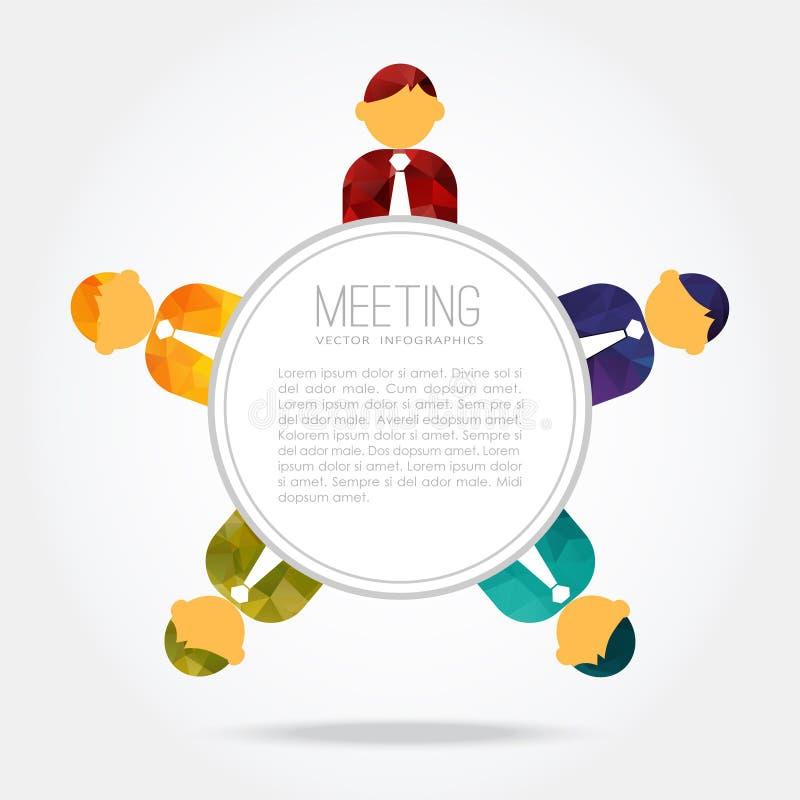 Reunión de negocios, gente alrededor de la tabla, ilustración del vector