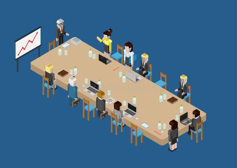 Reunión de negocios isométrica del web plano 3d, sesión de cráneo, consejo libre illustration