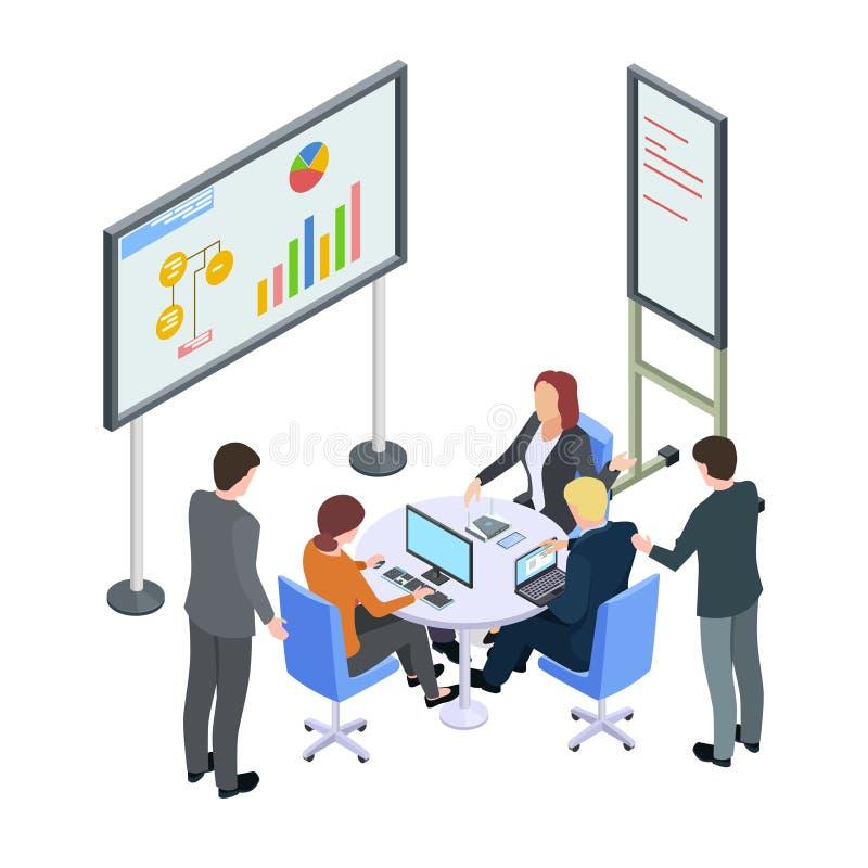 Reunión de negocios isométrica, empresarios que discuten el ejemplo del vector stock de ilustración