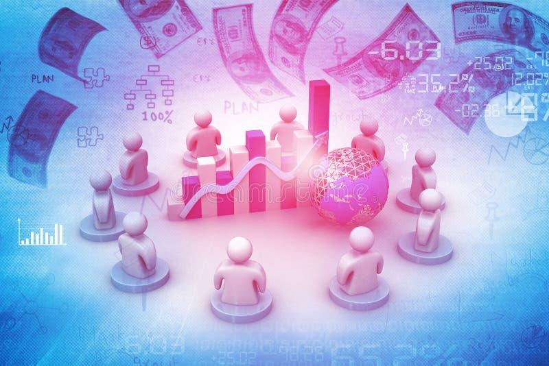 Reunión de negocios y participación en los beneficios stock de ilustración