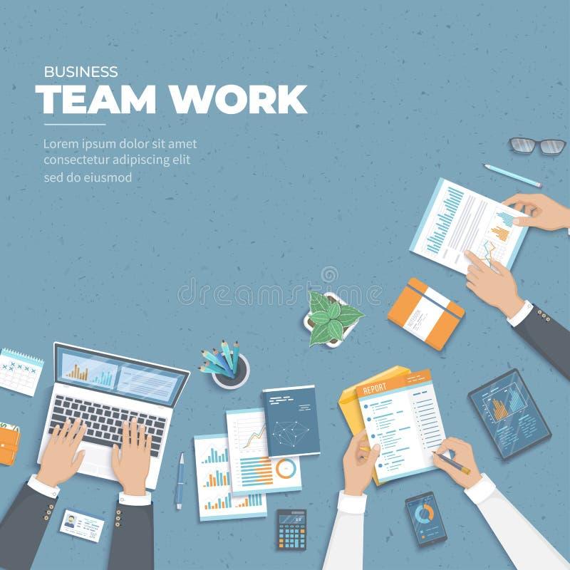 Reunión de negocios y reunión de reflexión Concepto del trabajo del equipo de la oficina Análisis, planeamiento, información, con libre illustration