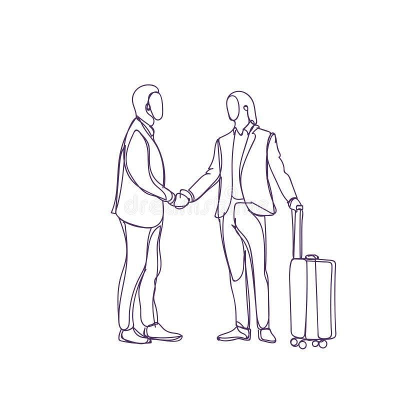 Reunión de With Suitcase Silhouette del hombre de negocios del saludo del hombre de negocios del bosquejo stock de ilustración