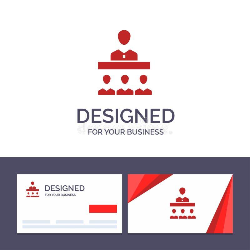 Reunión de visita de la plantilla creativa de la tarjeta y del logotipo, equipo, trabajo en equipo, ejemplo del vector de la ofic libre illustration