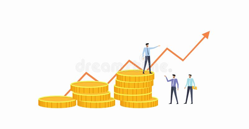 Reunión del equipo del negocio del grupo con el gráfico de las finanzas libre illustration