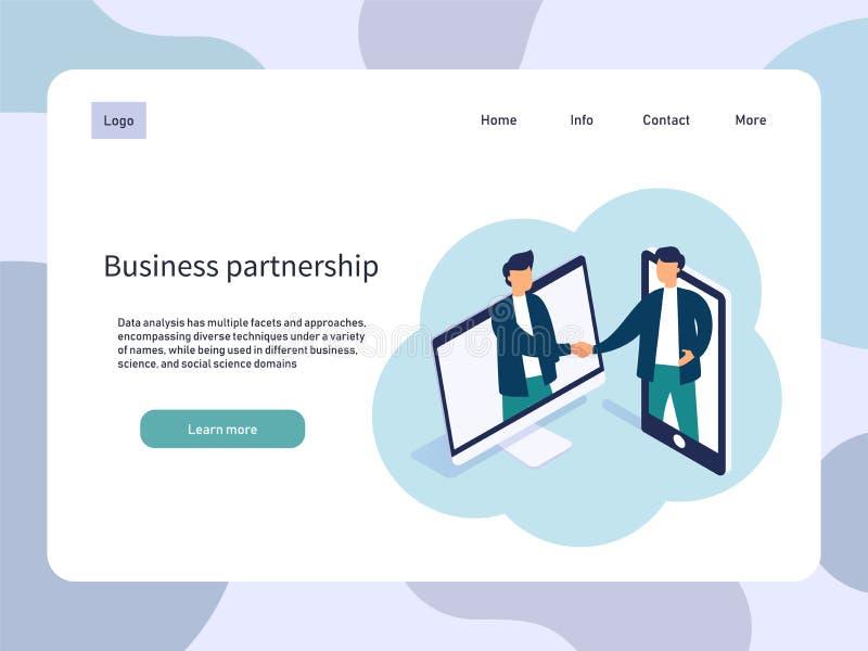 Reunión en línea, sociedad del negocio Ilustración del vector stock de ilustración