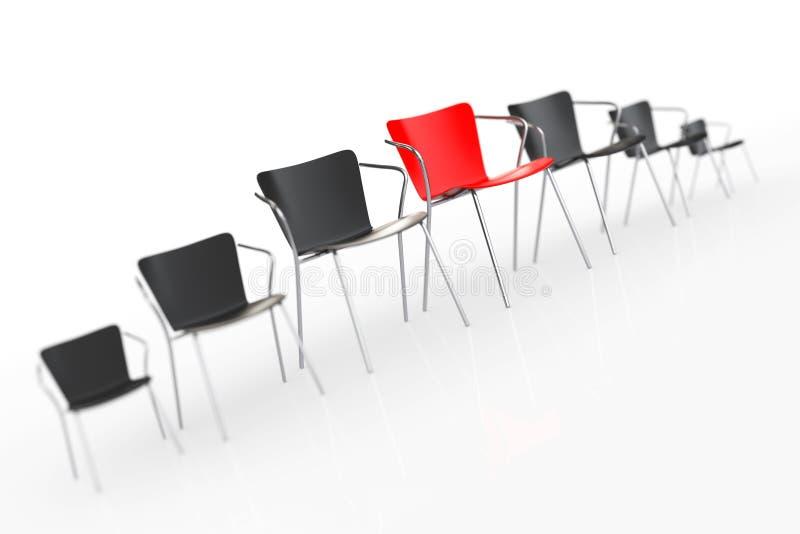 Reunión grande del negocio Boss rojo Chair Between otras sillas ren foto de archivo libre de regalías