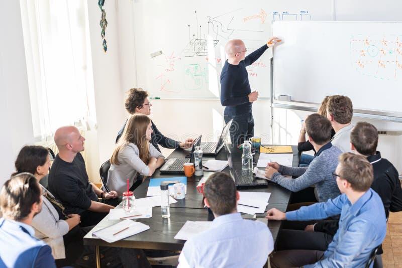 Reunión informal relajada del equipo de la compañía de puesta en marcha del negocio de las TIC foto de archivo