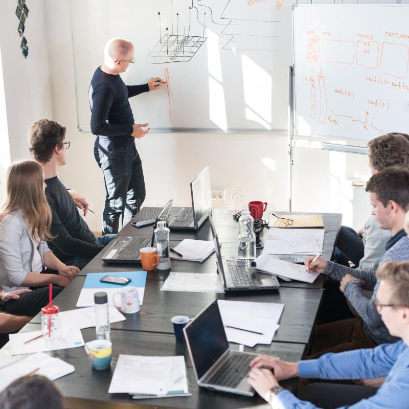 Reunión informal relajada del equipo de la compañía de puesta en marcha del negocio de las TIC fotos de archivo libres de regalías