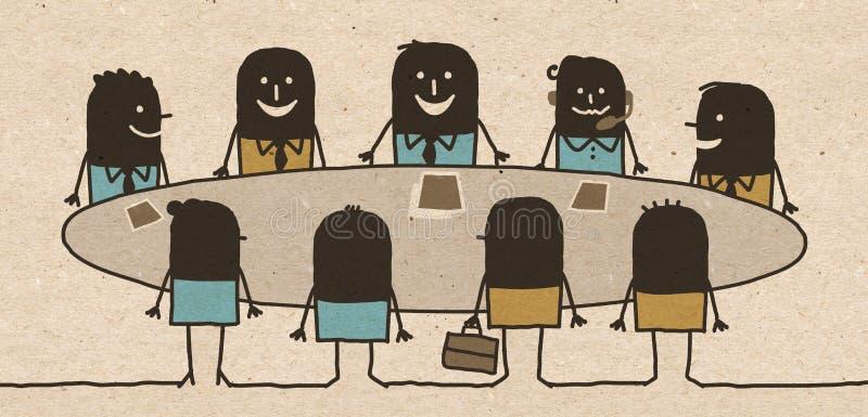 Reunión negra del equipo del negocio de la historieta stock de ilustración