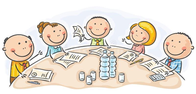 Reunión o conferencia alrededor de la tabla ilustración del vector