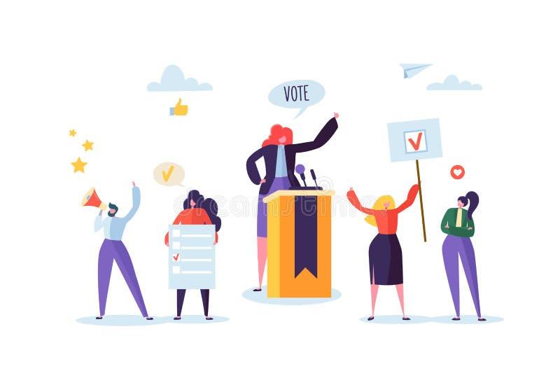 Reunión política con la candidata en discurso Campaña electoral de que vota con los caracteres que sostienen banderas del voto libre illustration
