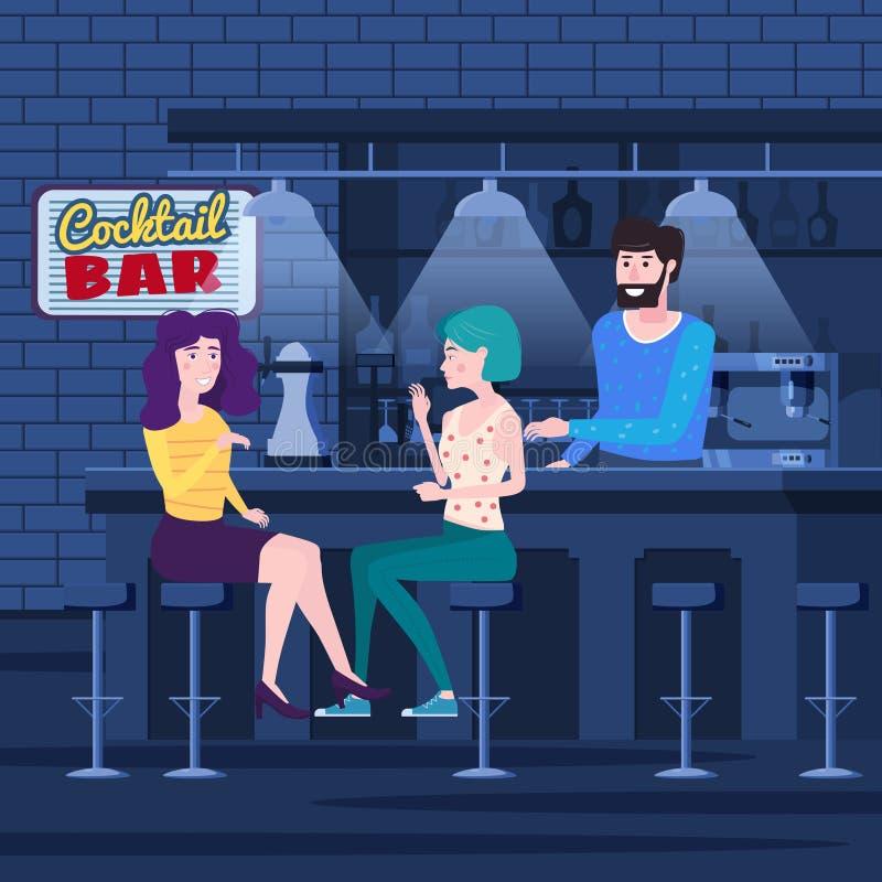 Reunión romántica de dos novias en una barra del cóctel Siéntese en sillas, goce y relájese de la reunión y de la conversación stock de ilustración