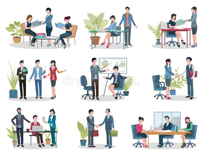 Reuniões de negócios, conferência e contrato do escritório ilustração stock
