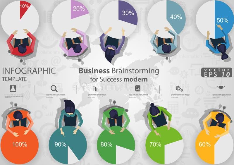 Reuni?n de reflexi?n del negocio para la plantilla de Infographic del ejemplo del vector de la idea y del concepto del dise?o mod ilustración del vector