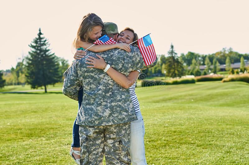 Reunion of happy usa family. royalty free stock photo