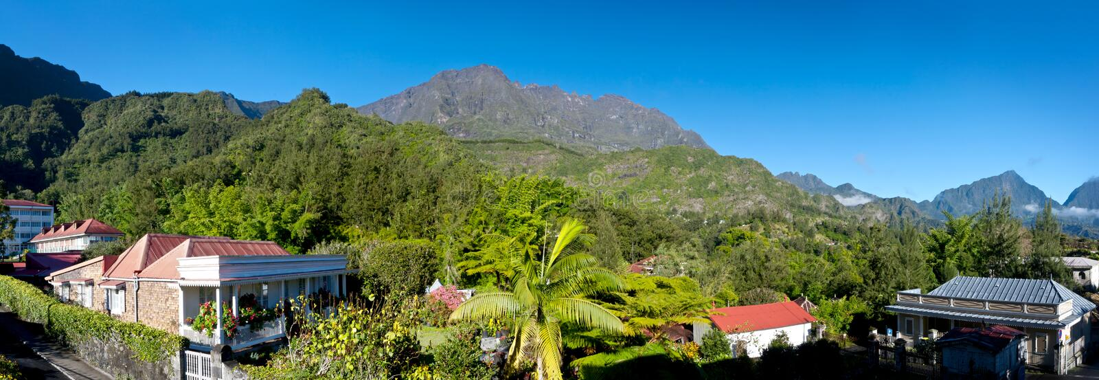 Download Reunion Island mountains stock image. Image of town, panorama - 20867755