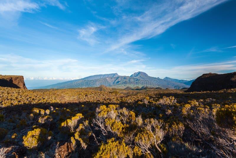 Reunion Island Vista sul DES Neiges del chiodo da roccia fotografia stock libera da diritti
