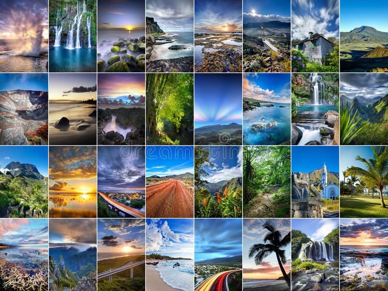 Reunion- Islandcollage lizenzfreie stockfotos