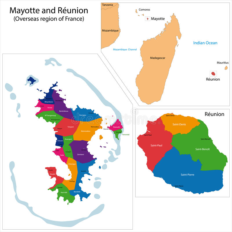 Reunion and Mayotte map stock vector Illustration of illustration