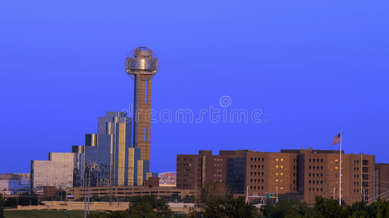 Reunion Tower, Dallas. Pictured is the famous Reunion Tower in Dallas, seen from the Sylvan Bridge to the West of downtown, at dusk. The Hyatt Regency Reunion royalty free stock photography