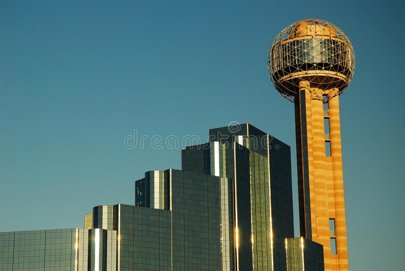 The Reunion Tower in Dallas. Rises over the remaining Reunion Center stock images