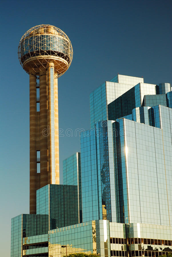 Reunion Tower Dallas. The spherical observation deck of the Reunion Tower is the centerpiece of the Reunion Center in Dallas royalty free stock photos