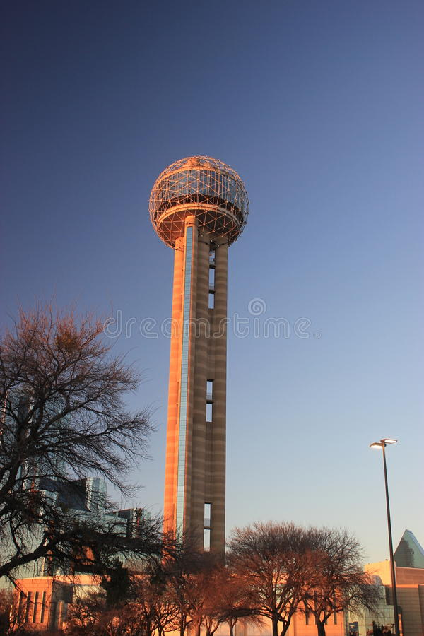 Reunion Tower. In Dallas, Texas USA from the ground royalty free stock image