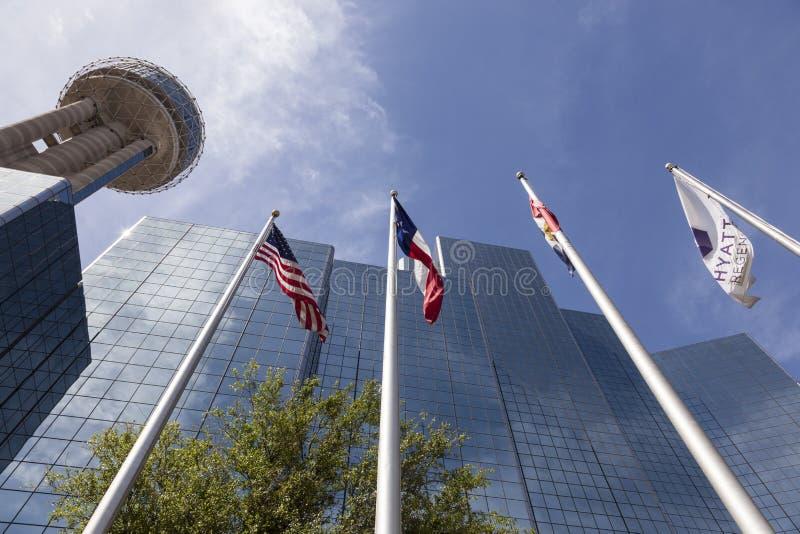 Reunion Tower in Dallas, Tx, USA. DALLAS, USA - APR 7: The Reunion Tower and Hyatt Regency luxury hotel in Dallas. April 7, 2016 in Dallas, Texas, USA stock images