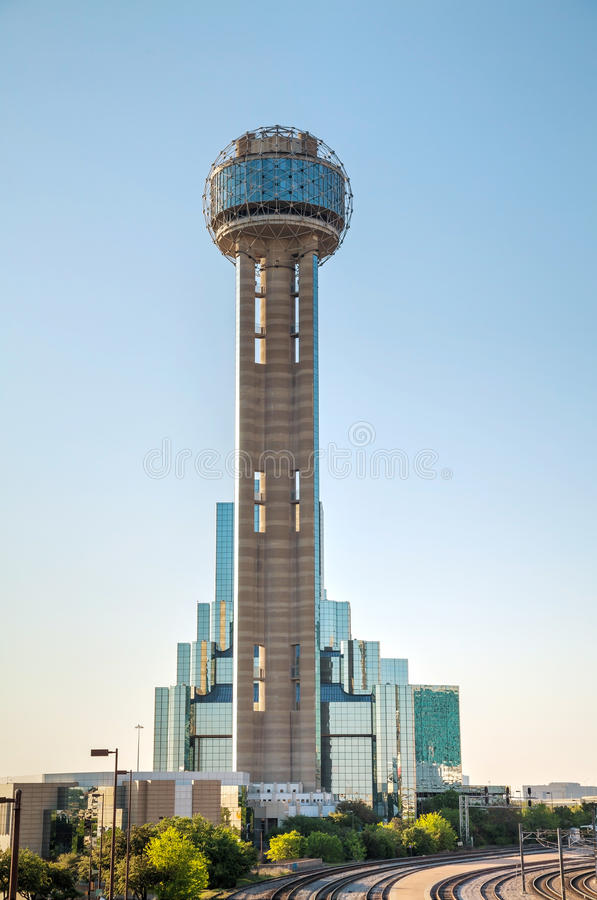 Reunion Tower at downtown Dallas, TX. DALLAS - APRIL 16: Downtown of Dallas with Reunion Tower on April 16, 2014 in Dallas, Texas. It is a 561 ft (171 m) royalty free stock photos