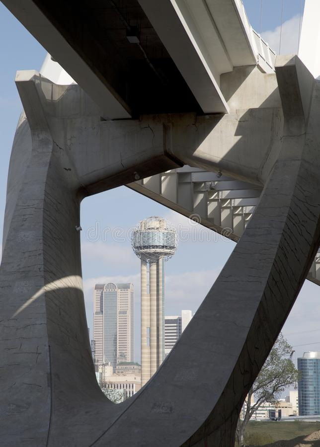Reunion Tower has seen from The Margaret Mc-bermott Bridge. Reunion Tower has seen from The Margaret Mc-Dermott bridge at city Dallas Texas USA royalty free stock photography