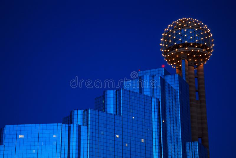 The Reunion Tower  Dallas. The Reunion Tower and Hyatt Hotel glow at Dusk, in Dallas, Texas stock photography