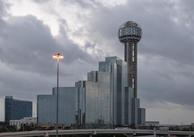 Reunion Tower and Hyatt Regency Hotel, Dallas, Texas. Pictured is a dawn picture of the Reunion Tower, part of the Hyatt Regency Hotel complex in Dallas, Texas royalty free stock image