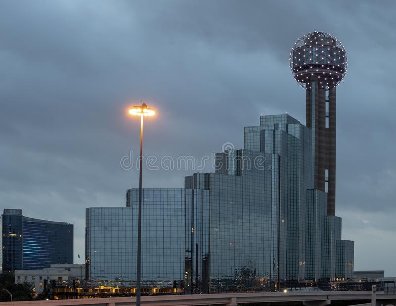 Reunion Tower and Hyatt Regency Hotel, Dallas, Texas. Pictured is a dawn picture of the Reunion Tower, part of the Hyatt Regency Hotel complex in Dallas, Texas stock images
