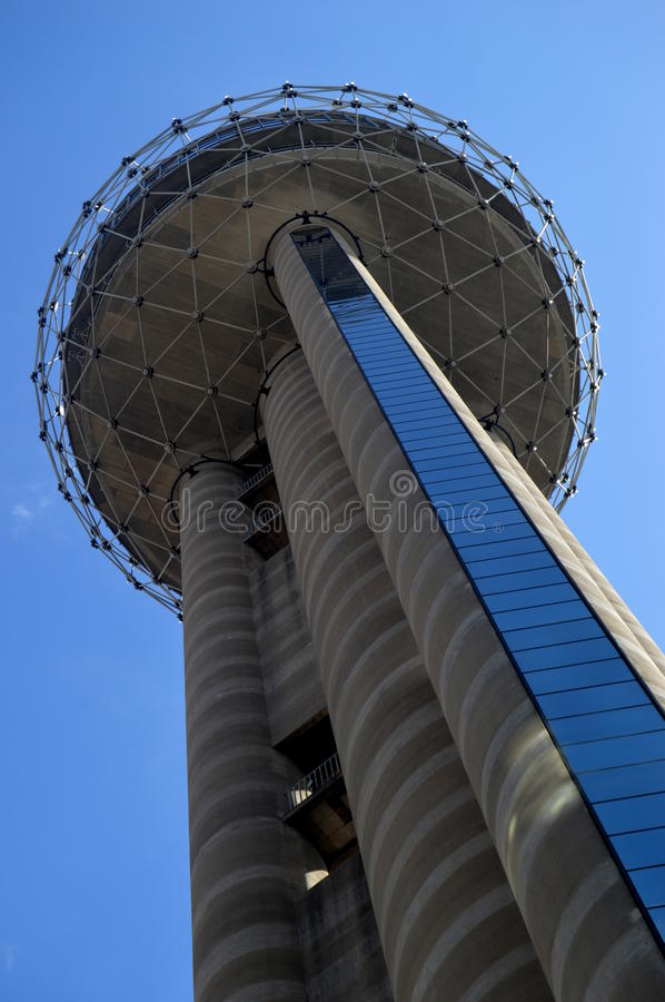 Reunion Tower. Looking up at Reunion Tower from the bottom stock image