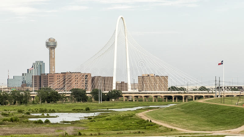 Reunion Tower and Margaret Hunt Hill Bridge, Dallas. Pictured is view of the Reunion Tower and Margaret Hunt Bridge from the Sylvan Avenue Bridge on the West stock photos