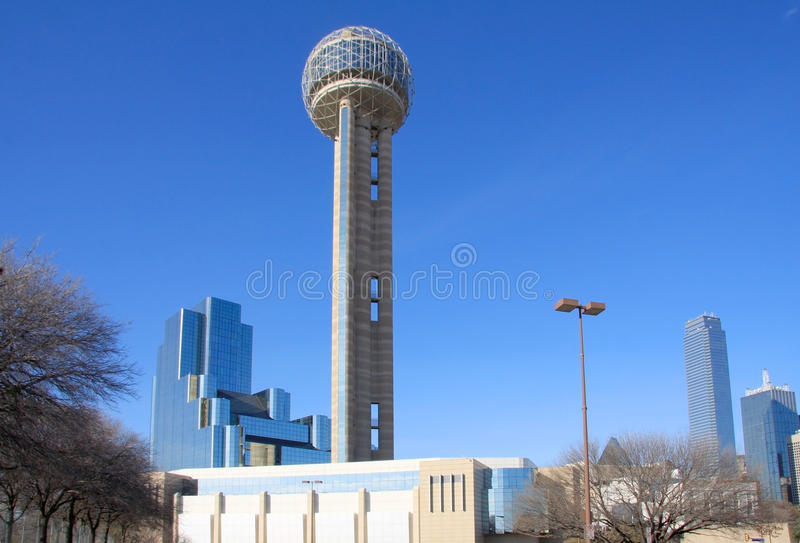Reunion Tower and moderbuilding. Reunion Tower and diffrent style modern building in downtown of Dallas,Texas stock image