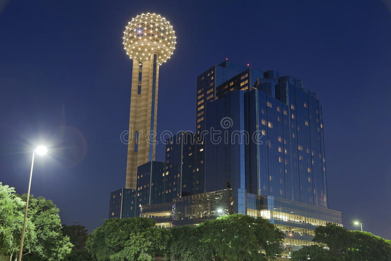 Reunion Tower at Night, Dallas, TX. Reunion Tower and Modern Hotel in Downtown Dallas at Night, Texas royalty free stock images