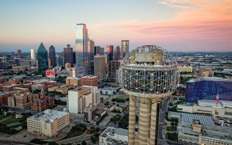 Reunion Tower. Pink Sky Dusk royalty free stock photography