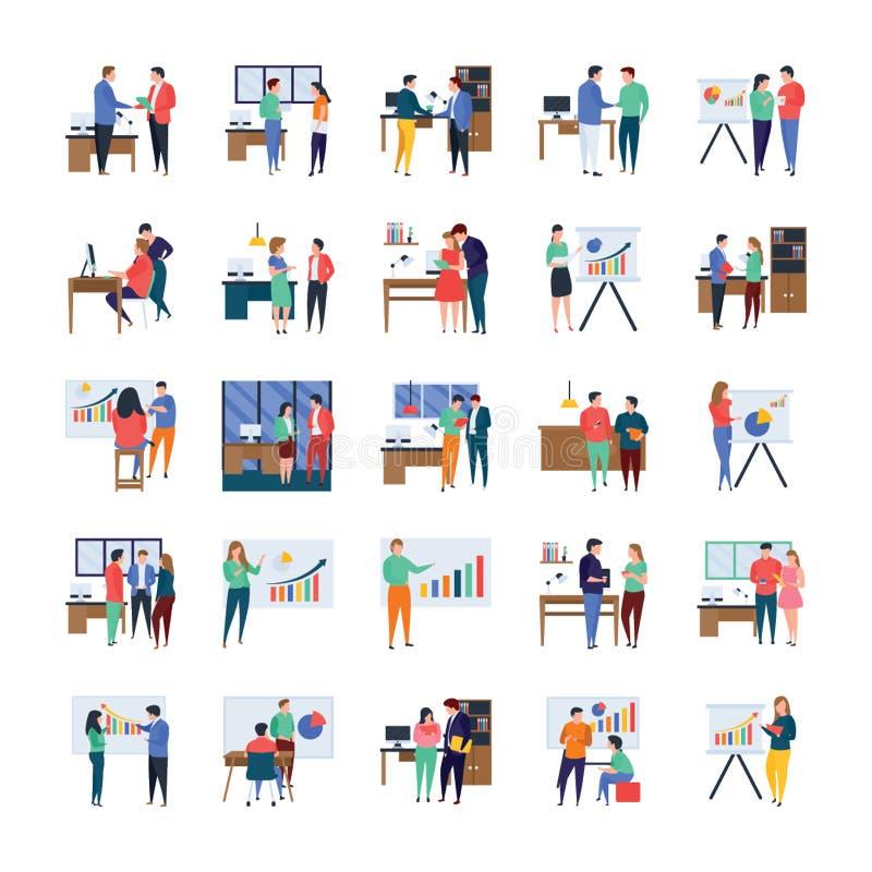 Reuniones de negocios, discusiones, obras en fase de creación, sistema plano de los ejemplos libre illustration