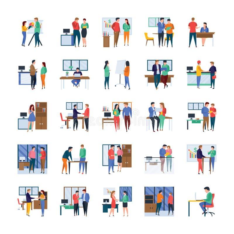 Reuniones de negocios, discusiones, obras en fase de creación, sistema plano de los ejemplos de la oficina stock de ilustración