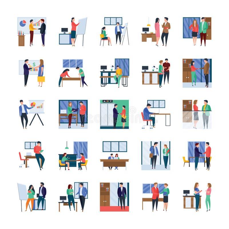 Reuniones de negocios, discusiones, obras en fase de creación, sistema plano de los ejemplos de la oficina ilustración del vector