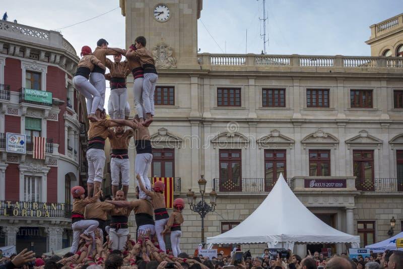REUS, ΙΣΠΑΝΙΑ - 23 ΑΠΡΙΛΊΟΥ 2017: Απόδοση Castells στοκ εικόνες με δικαίωμα ελεύθερης χρήσης