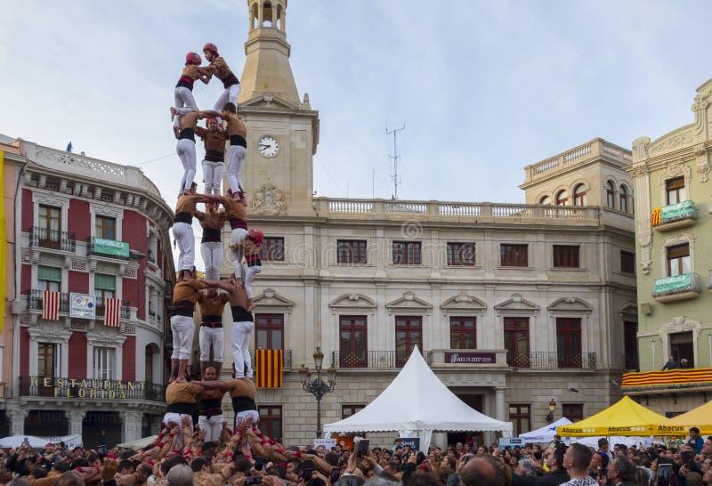 REUS, ΙΣΠΑΝΙΑ - 23 ΑΠΡΙΛΊΟΥ 2017: Απόδοση Castells στοκ φωτογραφίες με δικαίωμα ελεύθερης χρήσης